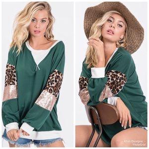 KFab Designs Tops - 2 LEFT! Contrast Sequin Sleeve Pullover